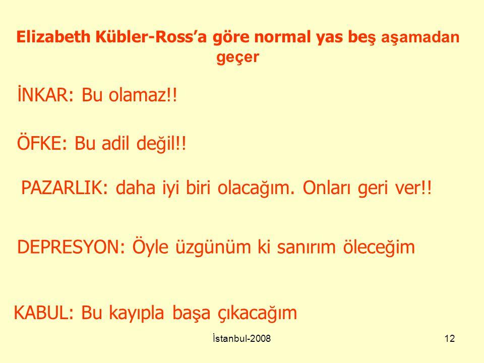 İstanbul-200812 Elizabeth Kübler-Ross'a göre normal yas be ş aşamadan geçer İ NKAR: Bu olamaz!! ÖFKE: Bu adil de ğ il!! PAZARLIK: daha iyi biri olaca