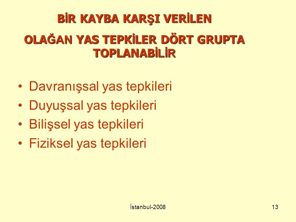 İstanbul-200813 Davranışsal yas tepkileri Duyuşsal yas tepkileri Bilişsel yas tepkileri Fiziksel yas tepkileri B İ R KAYBA KAR Ş I VER İ LEN OLA ĞAN Y