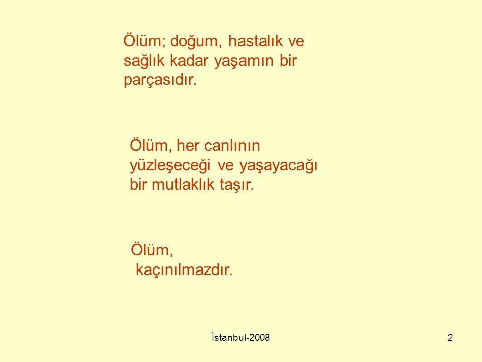 İstanbul-20082 Ölüm, her canlının yüzleşeceği ve yaşayacağı bir mutlaklık taşır. Ölüm, kaçınılmazdır. Ölüm; doğum, hastalık ve sağlık kadar yaşamın bi
