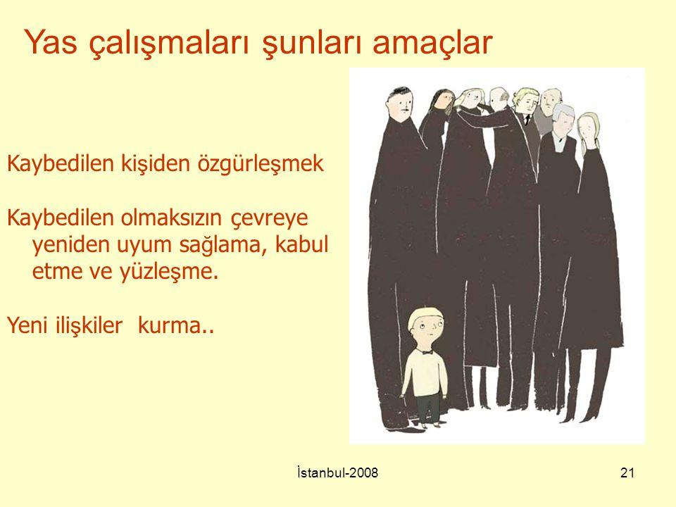 İstanbul-200821 Yas çalışmaları şunları amaçlar Kaybedilen ki ş iden özgürle ş mek Kaybedilen olmaksızın çevreye yeniden uyum sa ğ lama, kabul etme ve