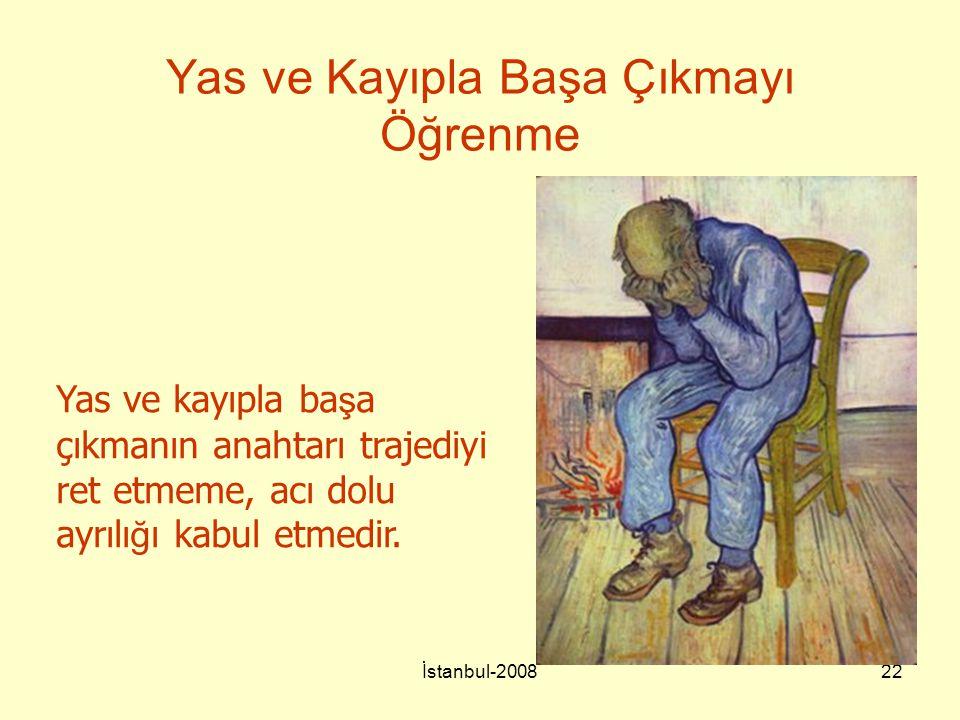 İstanbul-200822 Yas ve Kayıpla Başa Çıkmayı Öğrenme Yas ve kayıpla ba ş a çıkmanın anahtarı trajediyi ret etmeme, acı dolu ayrılı ğ ı kabul etmedir.