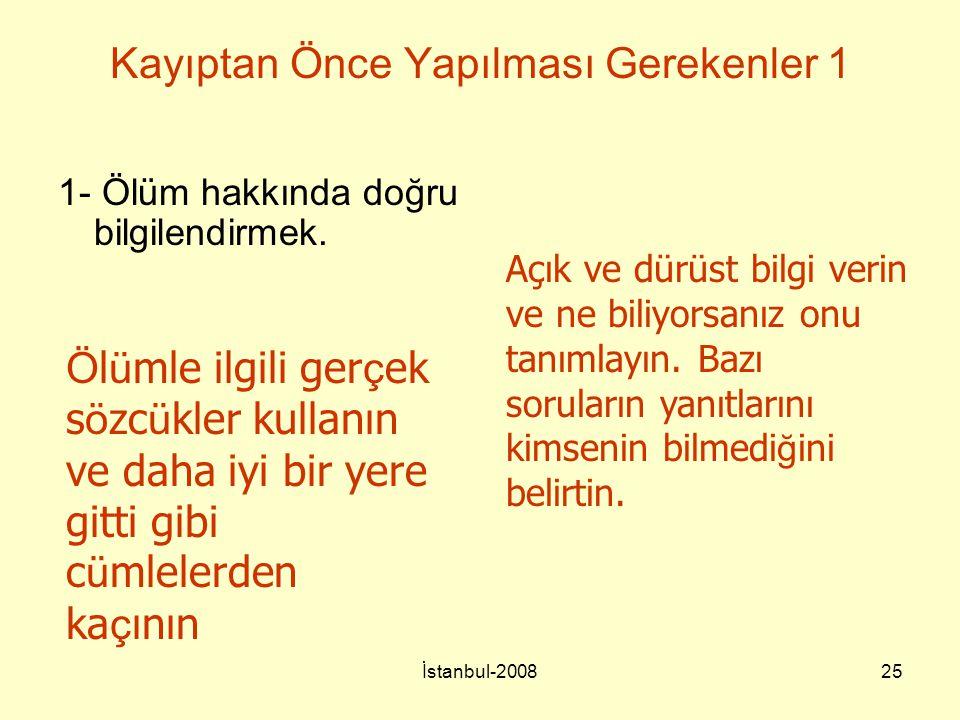 İstanbul-200825 Kayıptan Önce Yapılması Gerekenler 1 1- Ölüm hakkında doğru bilgilendirmek. Açık ve dürüst bilgi verin ve ne biliyorsanız onu tanımlay