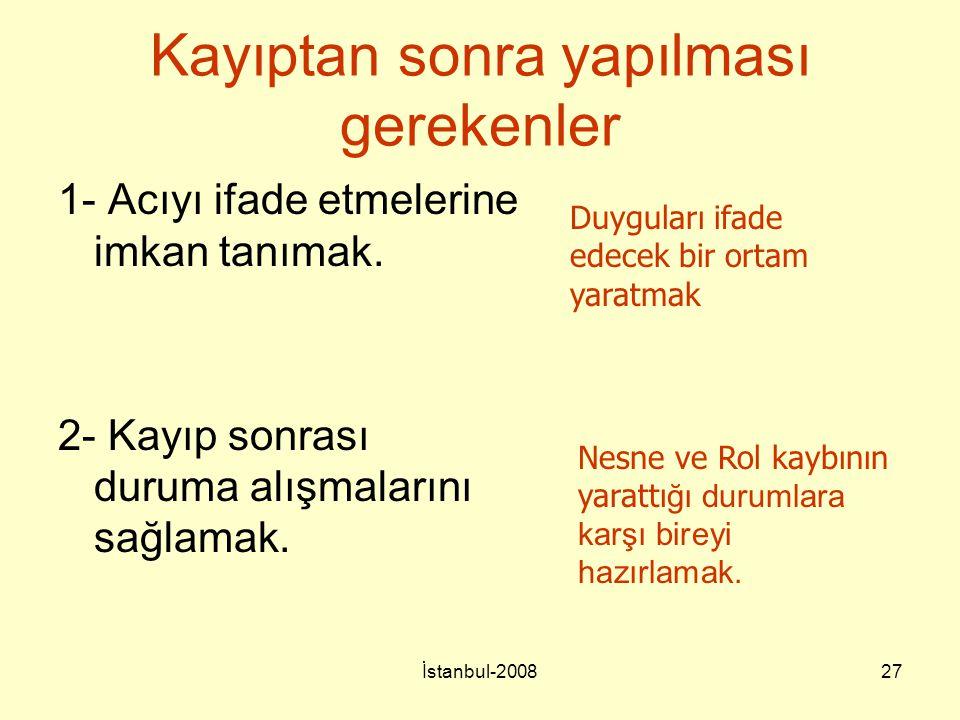 İstanbul-200827 Kayıptan sonra yapılması gerekenler 1- Acıyı ifade etmelerine imkan tanımak. 2- Kayıp sonrası duruma alışmalarını sağlamak. Duyguları