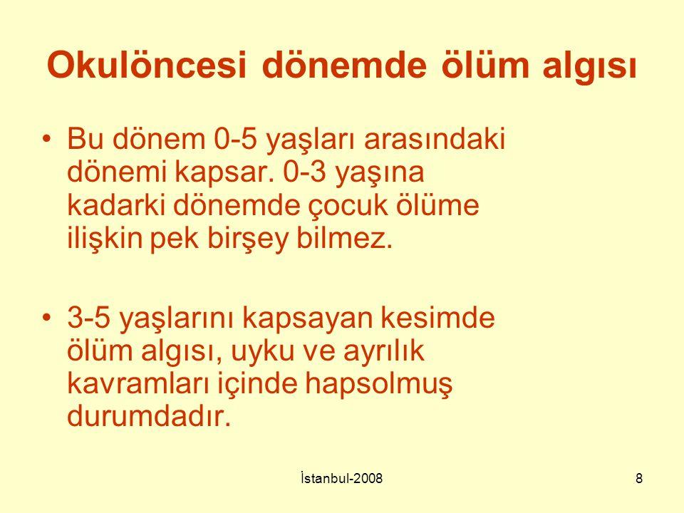 İstanbul-20088 Okulöncesi dönemde ölüm algısı Bu dönem 0-5 yaşları arasındaki dönemi kapsar. 0-3 yaşına kadarki dönemde çocuk ölüme ilişkin pek birşey