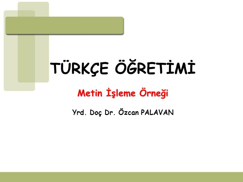 TÜRKÇE ÖĞRETİMİ Metin İşleme Örneği Yrd. Doç Dr. Özcan PALAVAN