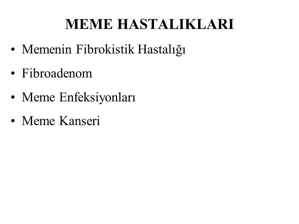 MEME HASTALIKLARI Memenin Fibrokistik Hastalığı Fibroadenom Meme Enfeksiyonları Meme Kanseri