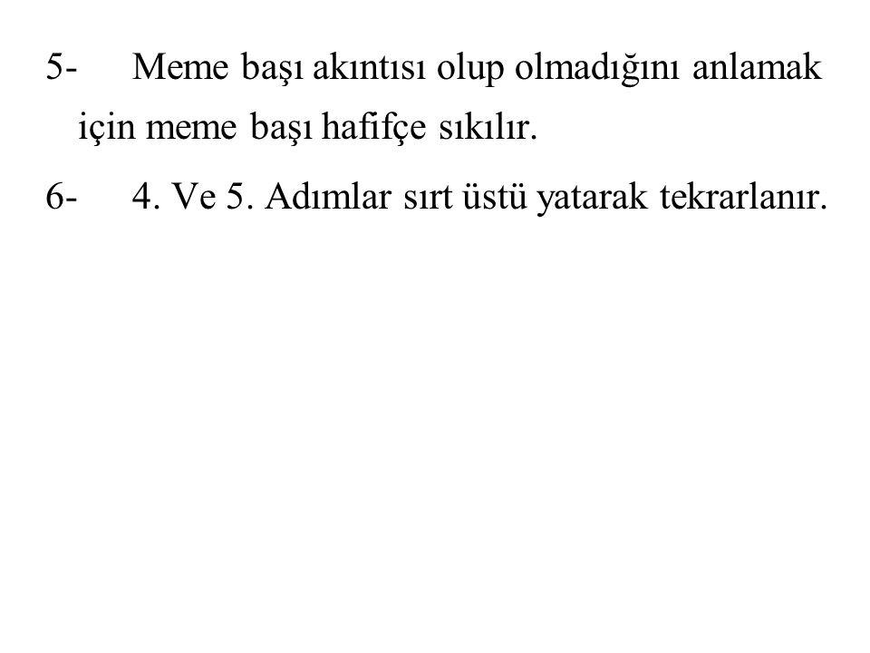 5-Meme başı akıntısı olup olmadığını anlamak için meme başı hafifçe sıkılır. 6-4. Ve 5. Adımlar sırt üstü yatarak tekrarlanır.