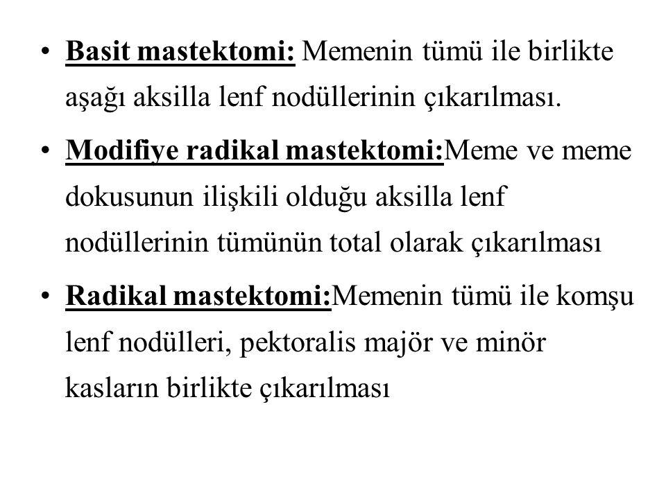Basit mastektomi: Memenin tümü ile birlikte aşağı aksilla lenf nodüllerinin çıkarılması. Modifiye radikal mastektomi:Meme ve meme dokusunun ilişkili o