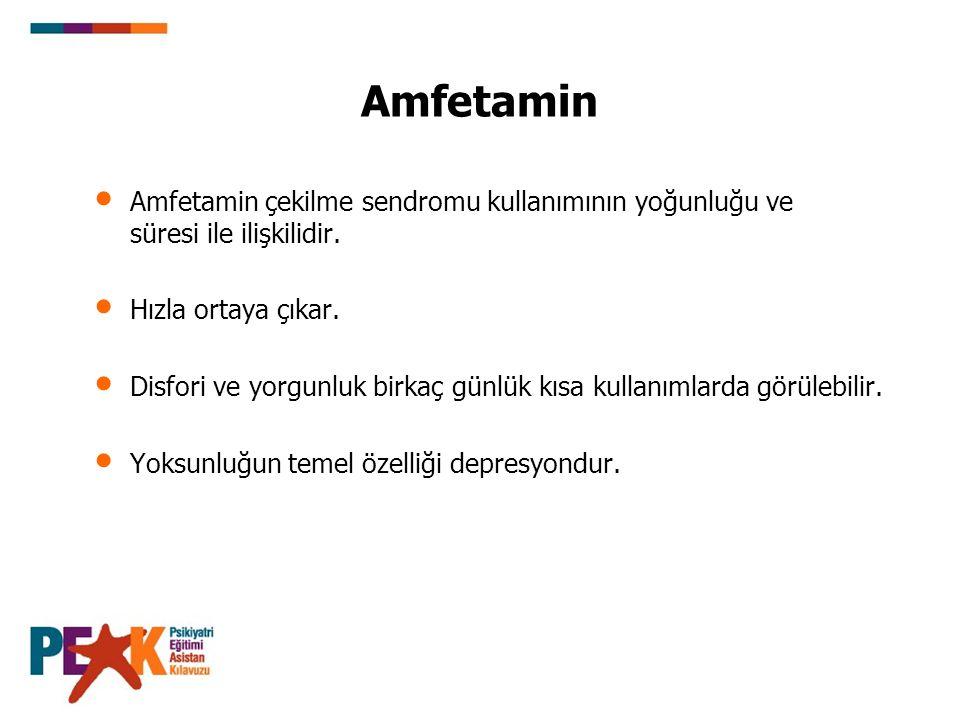 Amfetamin Amfetamin çekilme sendromu kullanımının yoğunluğu ve süresi ile ilişkilidir. Hızla ortaya çıkar. Disfori ve yorgunluk birkaç günlük kısa kul