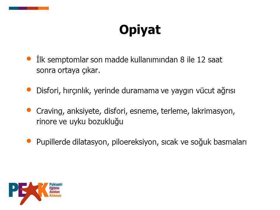 Opiyat İlk semptomlar son madde kullanımından 8 ile 12 saat sonra ortaya çıkar.