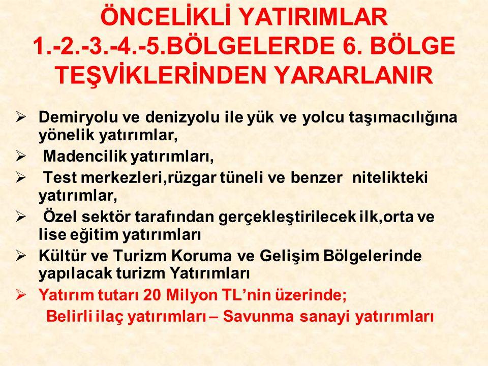ÖNCELİKLİ YATIRIMLAR 1.-2.-3.-4.-5.BÖLGELERDE 6.