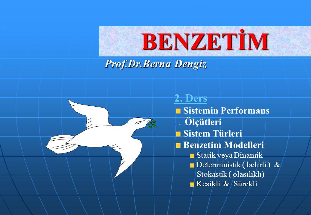 BENZETİM Prof.Dr.Berna Dengiz 2. Ders Sistemin Performans.. Ölçütleri Sistem Türleri Benzetim Modelleri Statik veya Dinamik Deterministik ( belirli )