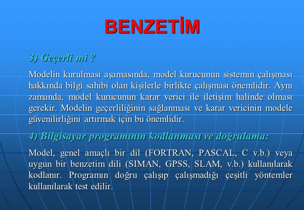 3) Geçerli mi ? Modelin kurulması aşamasında, model kurucunun sistemin çalışması hakkında bilgi sahibi olan kişilerle birlikte çalışması önemlidir. Ay