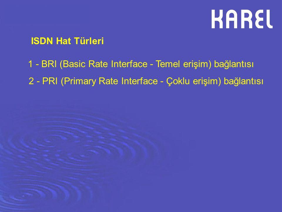 1 - BRI (Basic Rate Interface - Temel erişim) bağlantısı 2 - PRI (Primary Rate Interface - Çoklu erişim) bağlantısı ISDN Hat Türleri