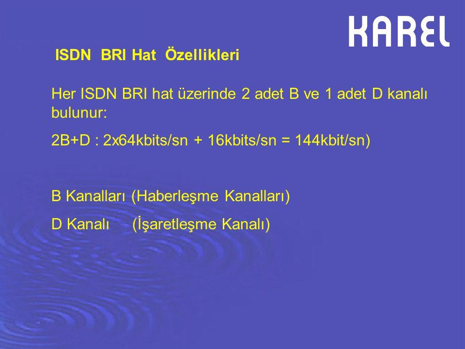 Her ISDN BRI hat üzerinde 2 adet B ve 1 adet D kanalı bulunur: 2B+D : 2x64kbits/sn + 16kbits/sn = 144kbit/sn) B Kanalları (Haberleşme Kanalları) D Kan