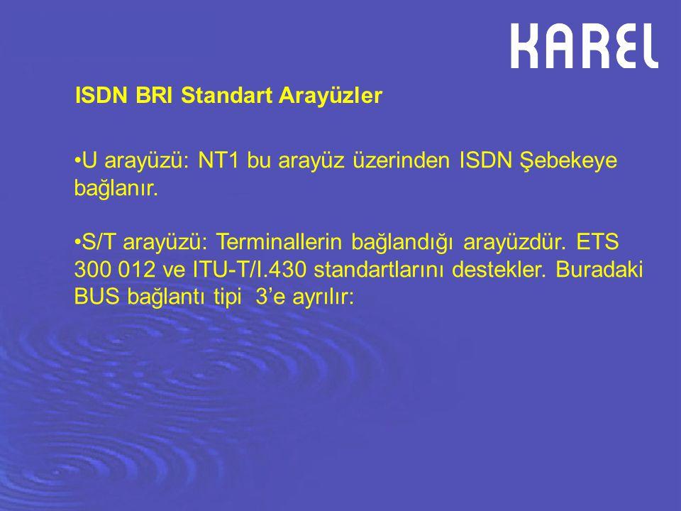 ISDN BRI Standart Arayüzler U arayüzü: NT1 bu arayüz üzerinden ISDN Şebekeye bağlanır. S/T arayüzü: Terminallerin bağlandığı arayüzdür. ETS 300 012 ve