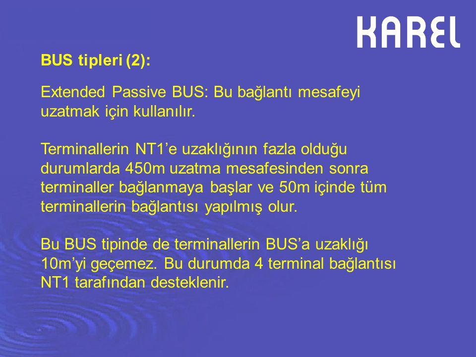 BUS tipleri (2): Extended Passive BUS: Bu bağlantı mesafeyi uzatmak için kullanılır. Terminallerin NT1'e uzaklığının fazla olduğu durumlarda 450m uzat