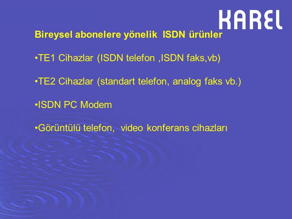 Bireysel abonelere yönelik ISDN ürünler TE1 Cihazlar (ISDN telefon,ISDN faks,vb) TE2 Cihazlar (standart telefon, analog faks vb.) ISDN PC Modem Görünt