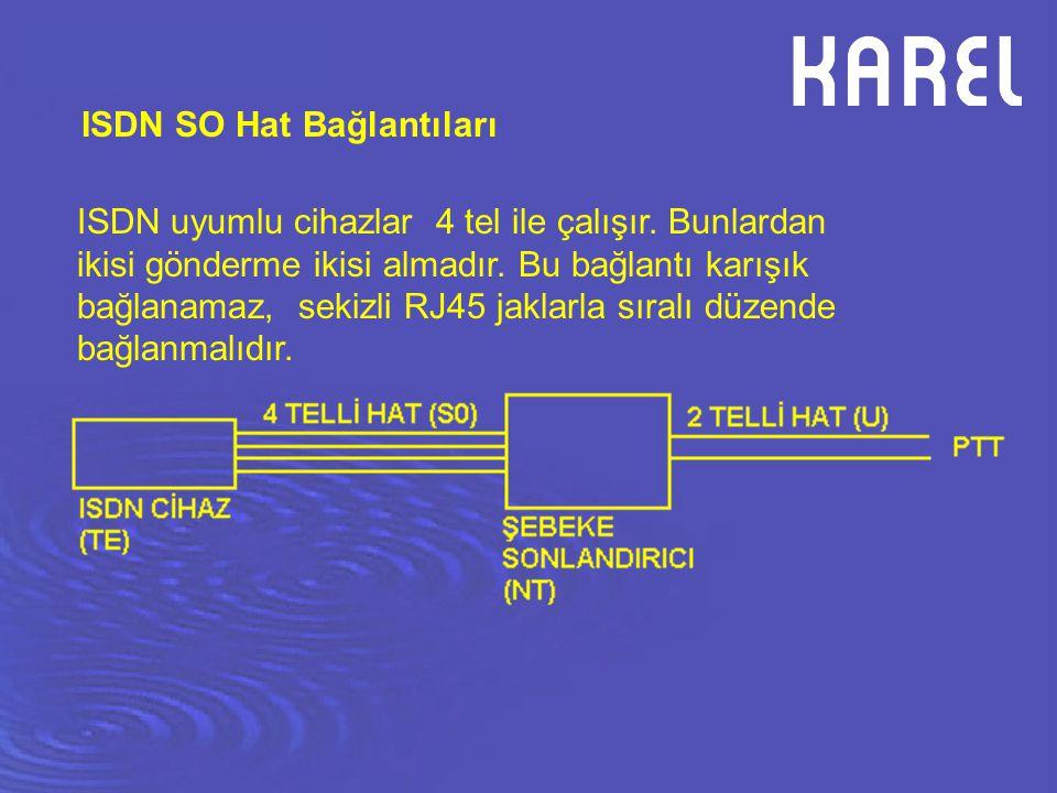 ISDN SO Hat Bağlantıları ISDN uyumlu cihazlar 4 tel ile çalışır. Bunlardan ikisi gönderme ikisi almadır. Bu bağlantı karışık bağlanamaz, sekizli RJ45