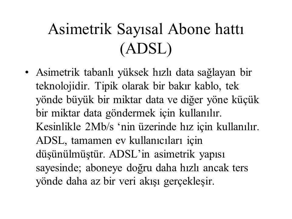 Asimetrik Sayısal Abone hattı (ADSL) Asimetrik tabanlı yüksek hızlı data sağlayan bir teknolojidir. Tipik olarak bir bakır kablo, tek yönde büyük bir