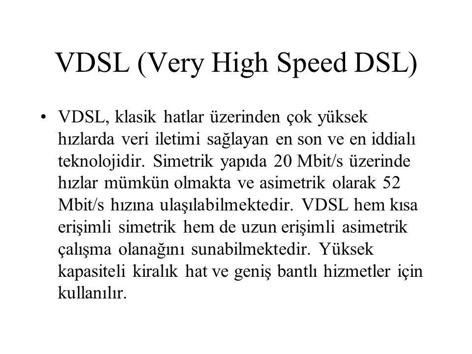 . xDSL Teknolojisinin Avantajları Dünya üzerinde kurulu 800.000 dan fazla lokal santral bölgesinde Telefon kullanımı için mevcut bakır altyapıyı kullanması, Ekstra altyapı yatırımı gerektirmemesi, Veri iletiminde, çok yüksek band genişliği sağlaması, Sinyalizasyonda özel bir digital kodlama kullanması, ( voice icin 4 kHz olan standart, DSL de 1.2 MHz e ulaşmaktadır ) İletişim Teknolojisinde kullanılan varolan ve yeni çıkabilecek hizmetlerin DSL üzerinde uygulanabilmesi, Kullanılan donanımların aynı servisi sağlamada kullanılan diğer donanımlarla karşılaştırmalı belirgin maliyet avantajına sahip olması.