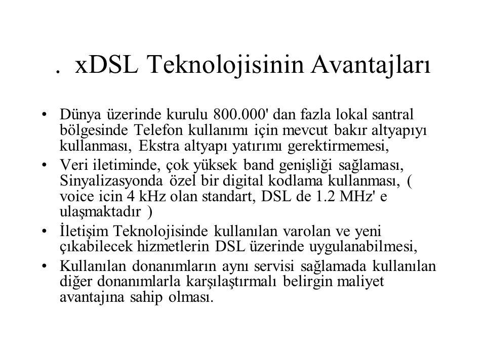 . xDSL Teknolojisinin Avantajları Dünya üzerinde kurulu 800.000' dan fazla lokal santral bölgesinde Telefon kullanımı için mevcut bakır altyapıyı kull