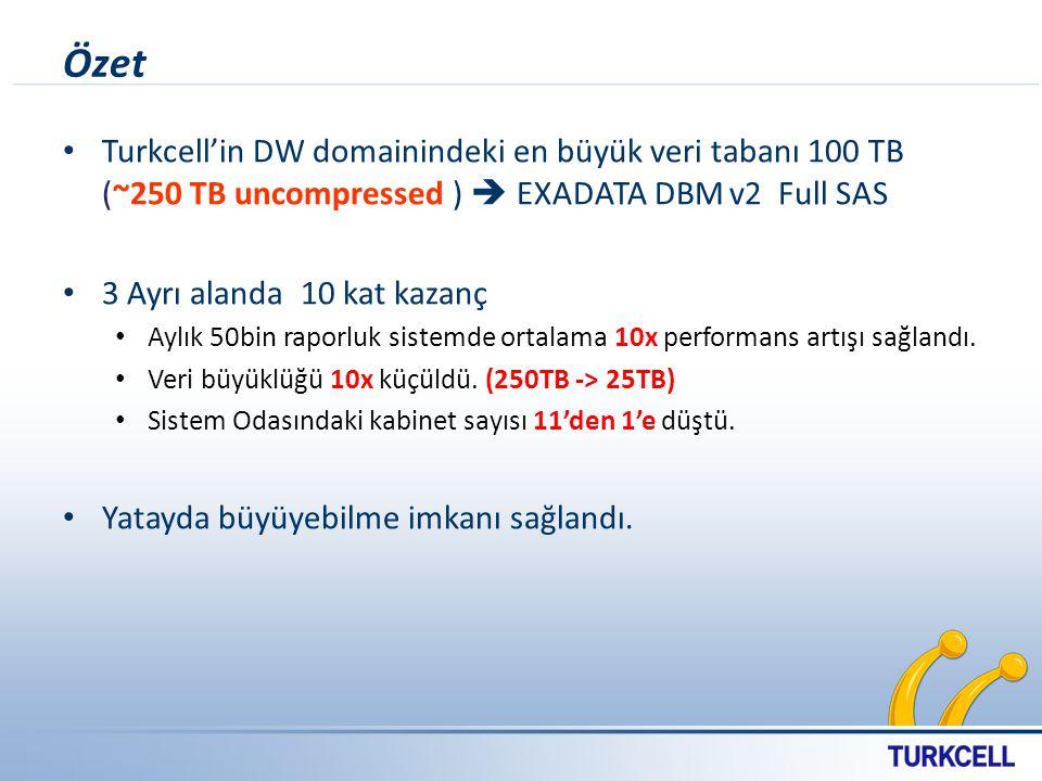 Özet Turkcell'in DW domainindeki en büyük veri tabanı 100 TB (~250 TB uncompressed )  EXADATA DBM v2 Full SAS 3 Ayrı alanda 10 kat kazanç Aylık 50bin