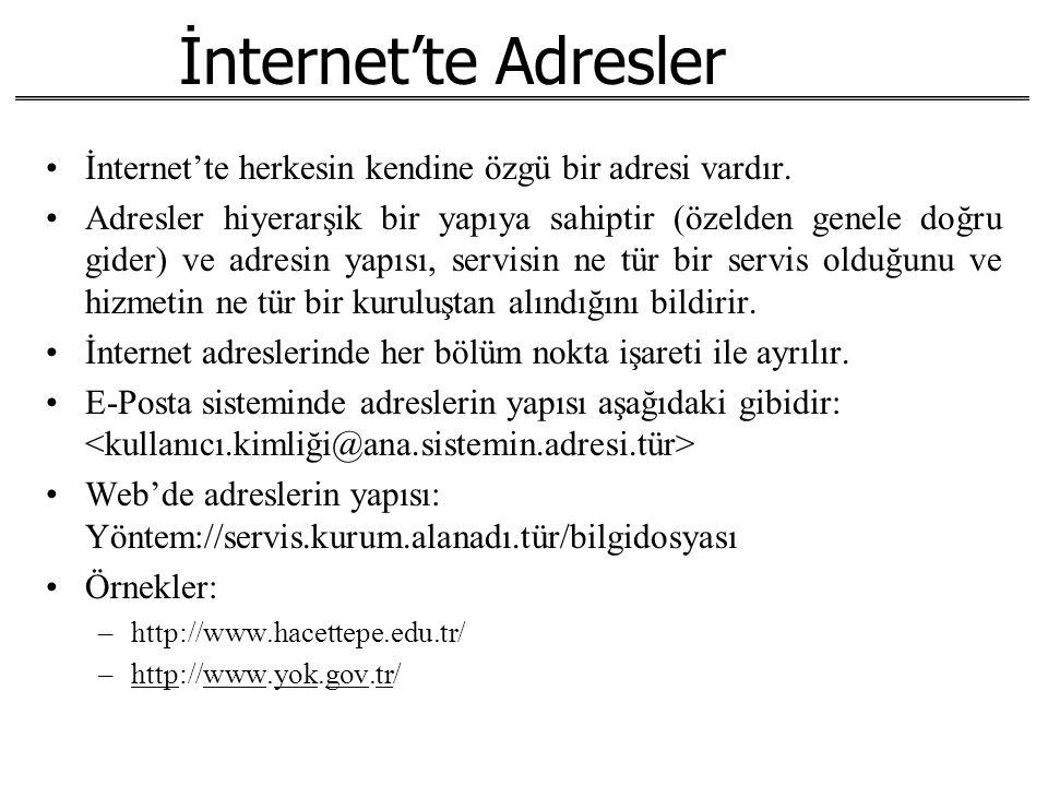 İnternet'te Adresler İnternet'te herkesin kendine özgü bir adresi vardır. Adresler hiyerarşik bir yapıya sahiptir (özelden genele doğru gider) ve adre