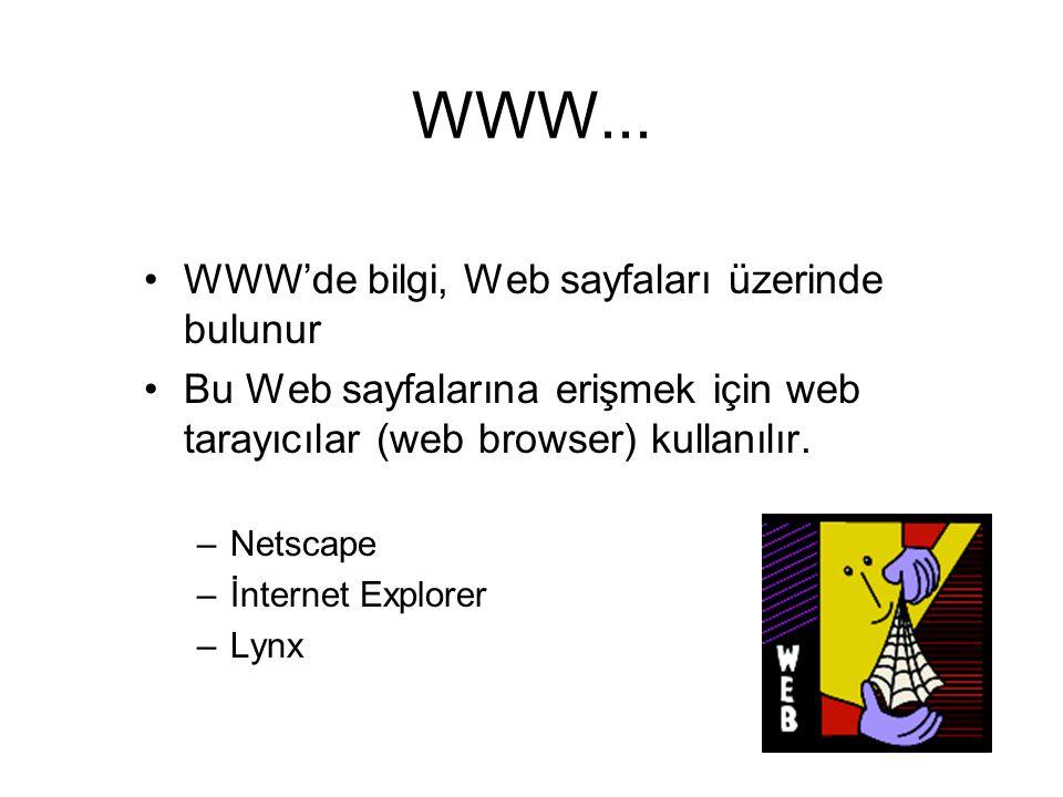 WWW... WWW'de bilgi, Web sayfaları üzerinde bulunur Bu Web sayfalarına erişmek için web tarayıcılar (web browser) kullanılır. –Netscape –İnternet Expl