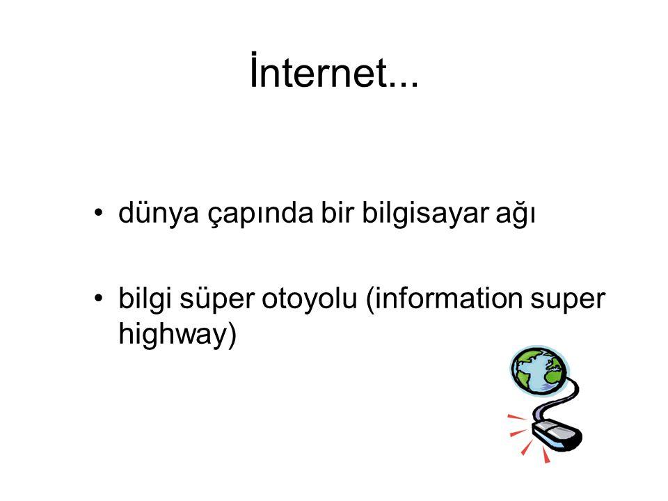 İnternet... dünya çapında bir bilgisayar ağı bilgi süper otoyolu (information super highway)