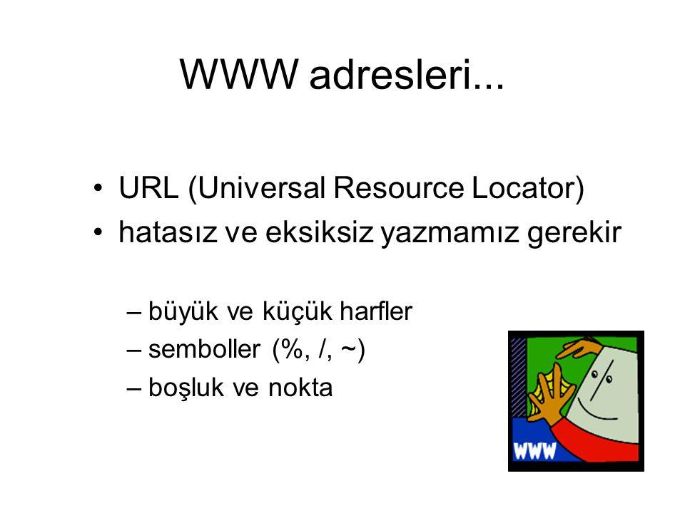 WWW adresleri... URL (Universal Resource Locator) hatasız ve eksiksiz yazmamız gerekir –büyük ve küçük harfler –semboller (%, /, ~) –boşluk ve nokta