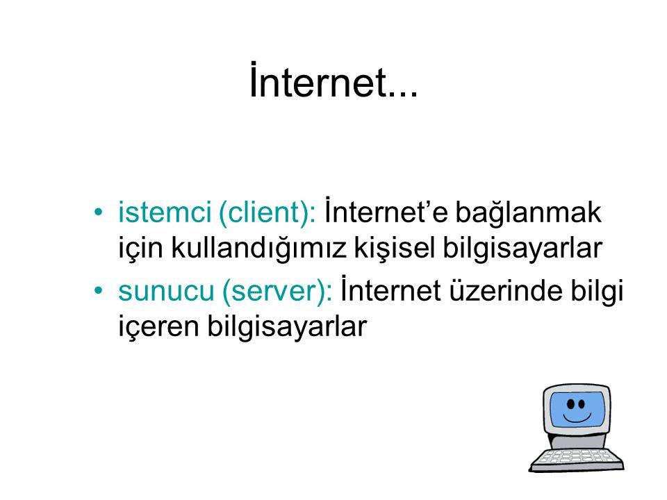İnternet... istemci (client): İnternet'e bağlanmak için kullandığımız kişisel bilgisayarlar sunucu (server): İnternet üzerinde bilgi içeren bilgisayar