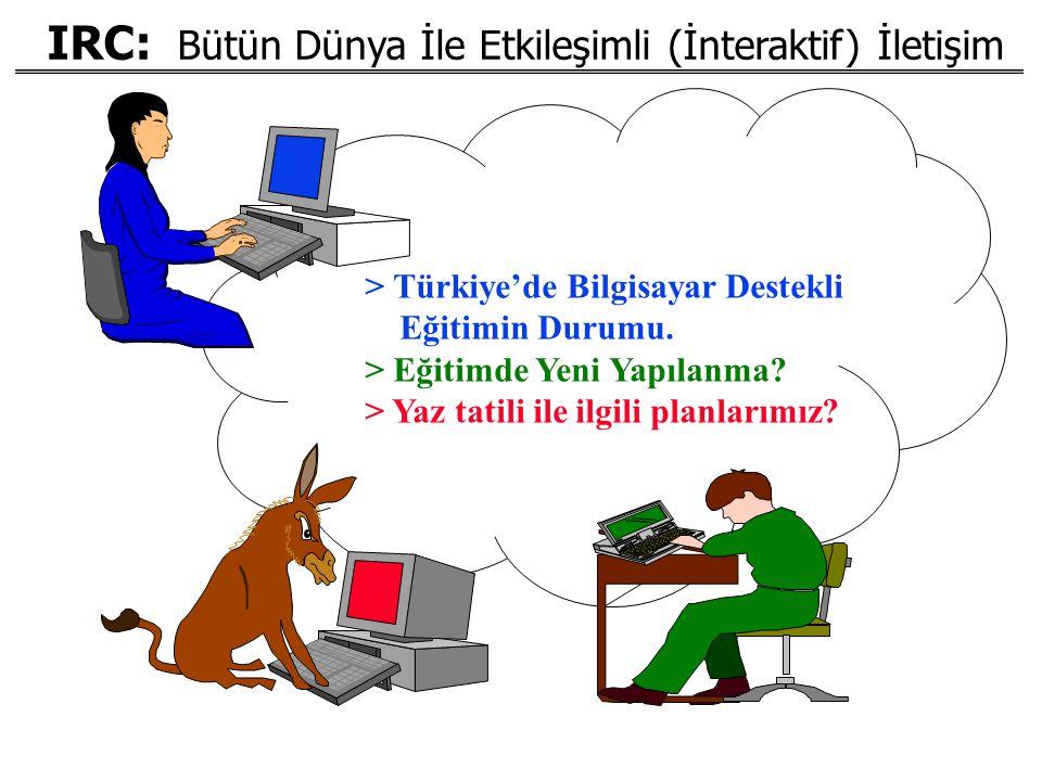IRC: Bütün Dünya İle Etkileşimli (İnteraktif) İletişim > Türkiye'de Bilgisayar Destekli Eğitimin Durumu. > Eğitimde Yeni Yapılanma? > Yaz tatili ile i