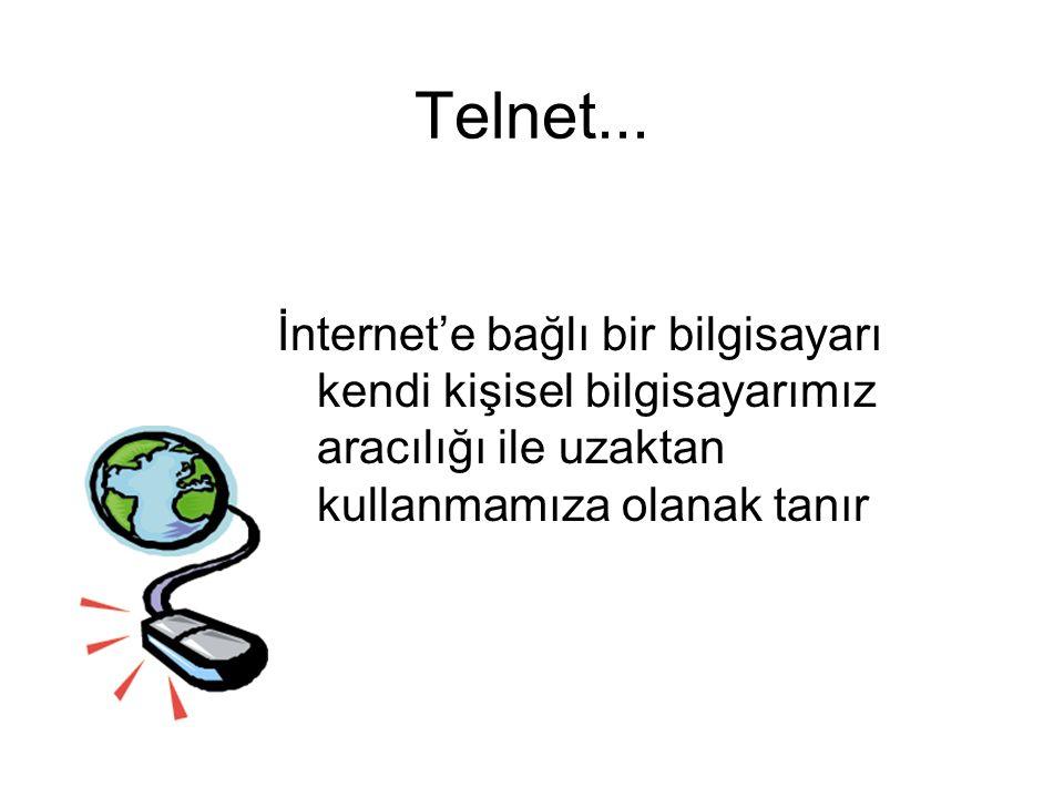 Telnet... İnternet'e bağlı bir bilgisayarı kendi kişisel bilgisayarımız aracılığı ile uzaktan kullanmamıza olanak tanır