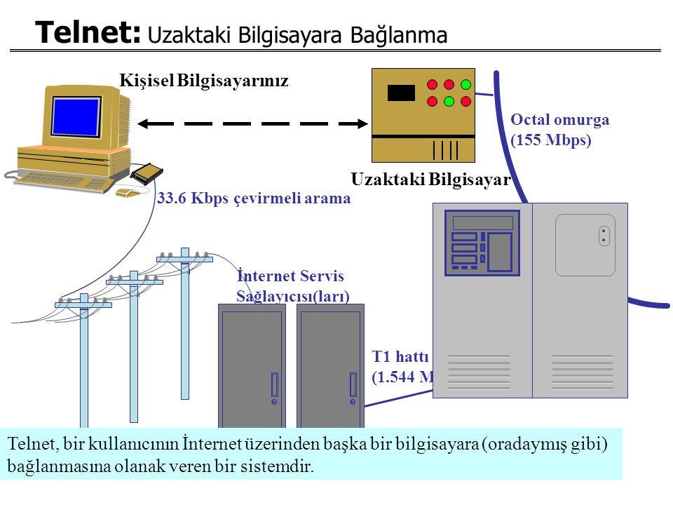 Kişisel Bilgisayarınız İnternet Servis Sağlayıcısı(ları) 33.6 Kbps çevirmeli arama T1 hattı ulaşımı (1.544 Mbps) Octal omurga (155 Mbps) Telnet: Uzakt