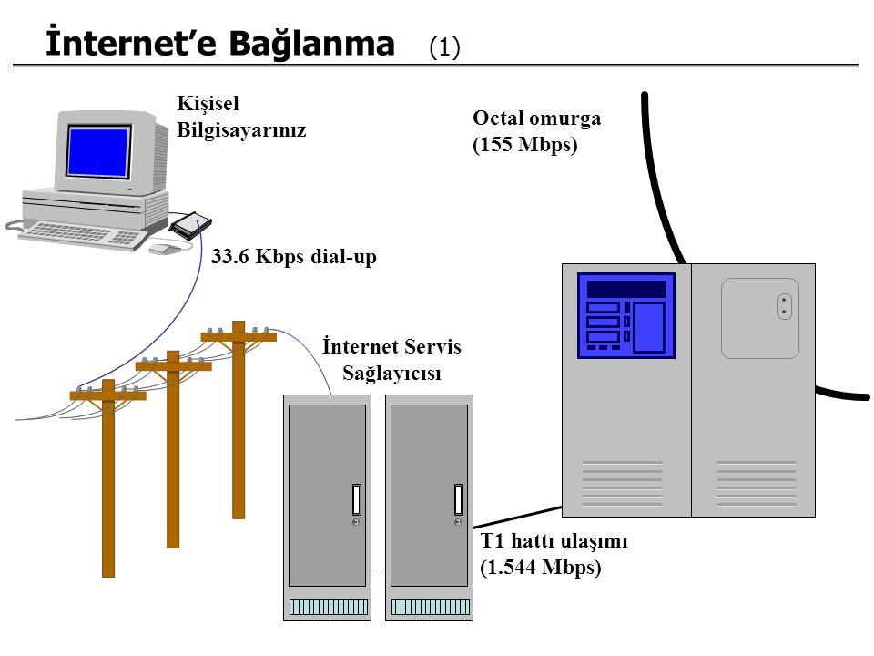 İnternet'e Bağlanma (1) Kişisel Bilgisayarınız 33.6 Kbps dial-up İnternet Servis Sağlayıcısı T1 hattı ulaşımı (1.544 Mbps) Octal omurga (155 Mbps)