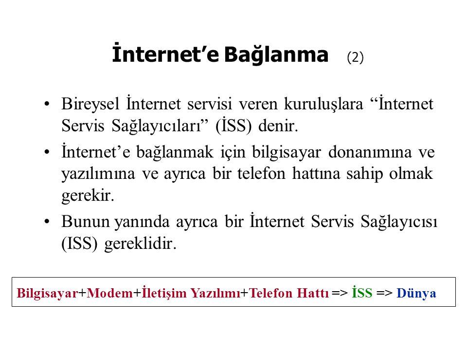 """İnternet'e Bağlanma (2) Bireysel İnternet servisi veren kuruluşlara """"İnternet Servis Sağlayıcıları"""" (İSS) denir. İnternet'e bağlanmak için bilgisayar"""