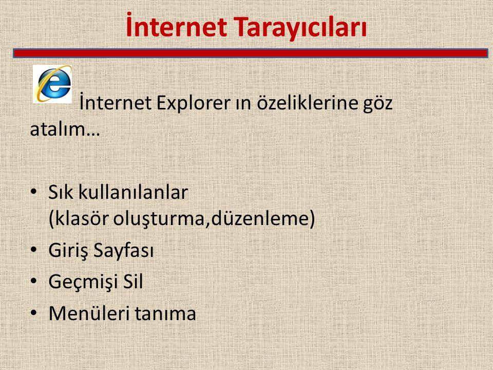 İnternet Tarayıcıları İnternet Explorer ın özeliklerine göz atalım… Sık kullanılanlar (klasör oluşturma,düzenleme) Giriş Sayfası Geçmişi Sil Menüleri tanıma