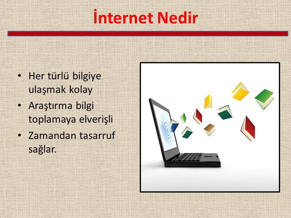 İnternet Nedir Her türlü bilgiye ulaşmak kolay Araştırma bilgi toplamaya elverişli Zamandan tasarruf sağlar.