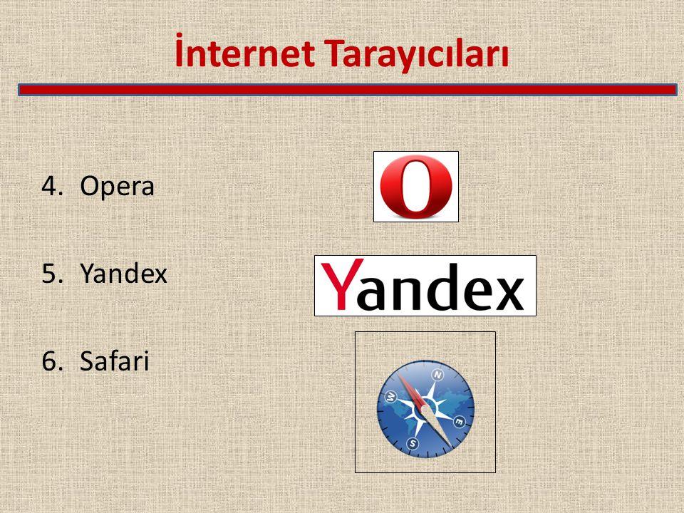 İnternet Tarayıcıları 4.Opera 5.Yandex 6.Safari
