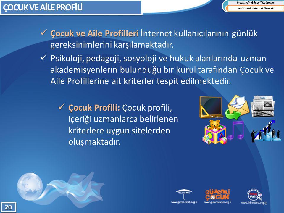 Çocuk Profili: Çocuk Profili: Çocuk profili, içeriği uzmanlarca belirlenen kriterlere uygun sitelerden oluşmaktadır. Çocuk ve Aile Profilleri Çocuk ve
