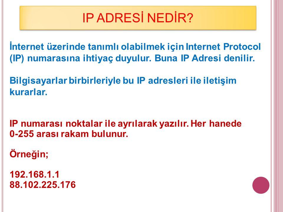 IP ADRESİ NEDİR? İnternet üzerinde tanımlı olabilmek için Internet Protocol (IP) numarasına ihtiyaç duyulur. Buna IP Adresi denilir. Bilgisayarlar bir