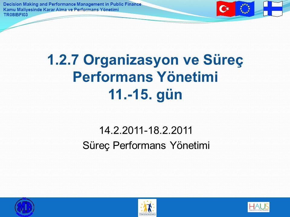 Decision Making and Performance Management in Public Finance Kamu Maliyesinde Karar Alma ve Performans Yönetimi TR08IBFI03 15.