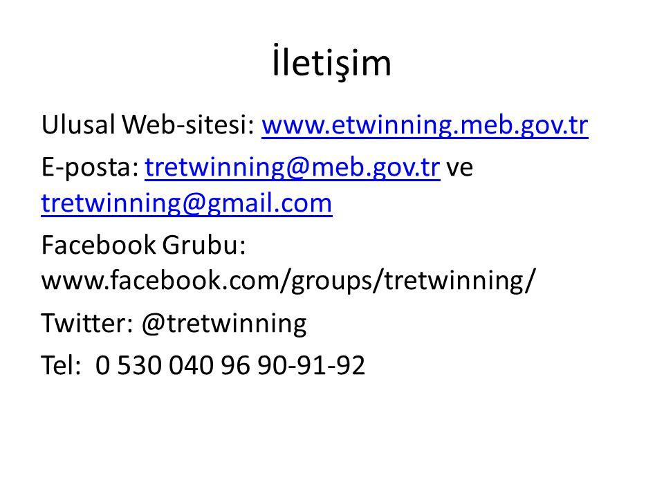 İletişim Ulusal Web-sitesi: www.etwinning.meb.gov.trwww.etwinning.meb.gov.tr E-posta: tretwinning@meb.gov.tr ve tretwinning@gmail.comtretwinning@meb.gov.tr tretwinning@gmail.com Facebook Grubu: www.facebook.com/groups/tretwinning/ Twitter: @tretwinning Tel: 0 530 040 96 90-91-92