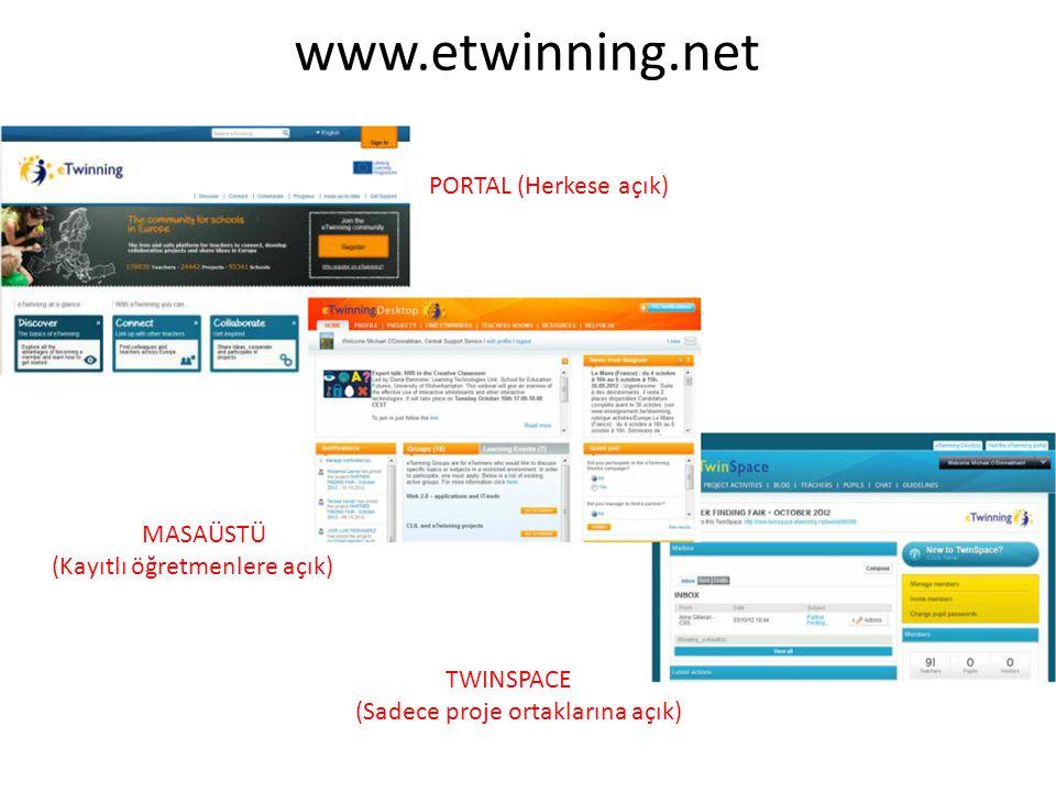 www.etwinning.net PORTAL (Herkese açık) MASAÜSTÜ (Kayıtlı öğretmenlere açık) TWINSPACE (Sadece proje ortaklarına açık)