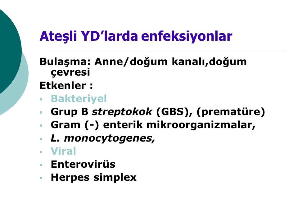 Bulaşma: Anne/doğum kanalı,doğum çevresi Etkenler :  Bakteriyel  Grup B streptokok (GBS), (prematüre)  Gram (-) enterik mikroorganizmalar,  L. mon