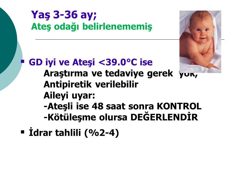 Yaş 3-36 ay; Ateş odağı belirlenememiş  GD iyi ve Ateşi <39.0°C ise Araştırma ve tedaviye gerek yok, Antipiretik verilebilir Aileyi uyar: -Ateşli ise