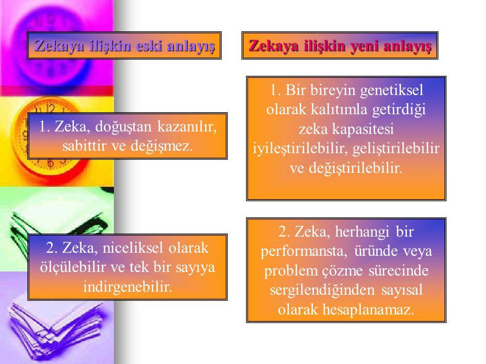 Zekaya ilişkin eski anlayış Zekaya ilişkin yeni anlayış 3.