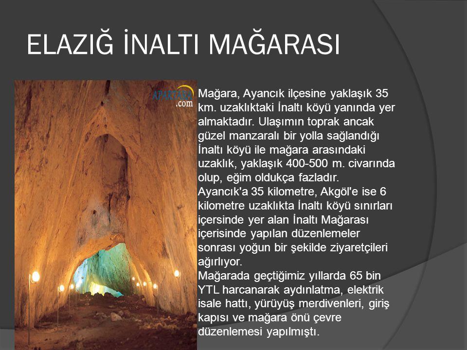 ELAZIĞ İNALTI MAĞARASI Mağara, Ayancık ilçesine yaklaşık 35 km. uzaklıktaki İnaltı köyü yanında yer almaktadır. Ulaşımın toprak ancak güzel manzaralı