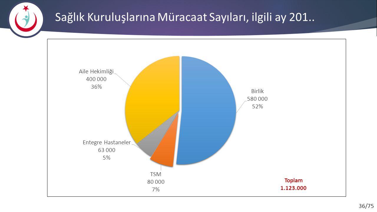 36/75 Toplam 1.123.000 Sağlık Kuruluşlarına Müracaat Sayıları, ilgili ay 201..
